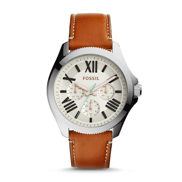 Cecile Multifunction Dark Brown Leather Watch
