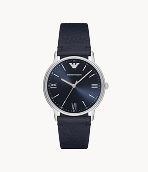 Emporio Armani Three-Hand Blue Leather Watch