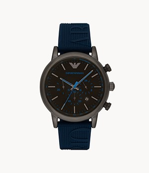Emporio Armani Men's Chronograph Blue Silicone Watch
