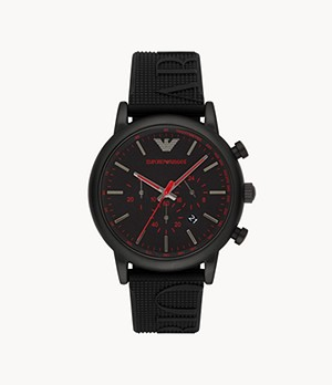 Emporio Armani Men's Chronograph Black Silicone Watch
