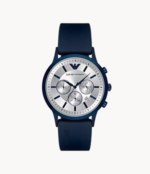 Emporio Armani Men's Chronograph Blue Rubber Watch