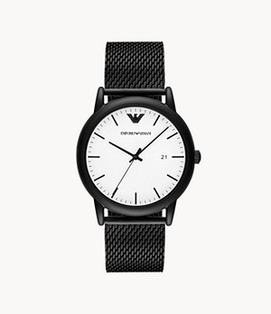 Emporio Armani Men's Three-Hand Black Stainless Steel Watch