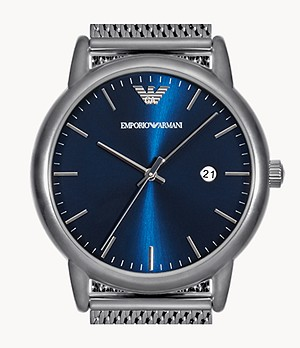 Emporio Armani Men's Three-Hand Date Gunmetal Stainless Steel Mesh Watch