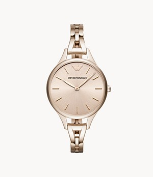 Emporio Armani Women's Two-Hand Pink Stainless Steel Watch