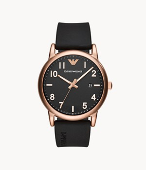 Emporio Armani Men's Three-Hand Black Rubber Watch