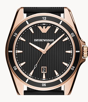 Emporio Armani Men's Three-Hand Date Black Rubber Watch