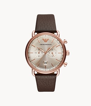 Emporio Armani Men's Chronograph Brown Leather Watch