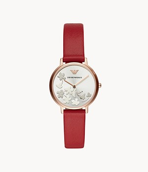 Emporio Armani Women's Two-Hand Red Leather Watch