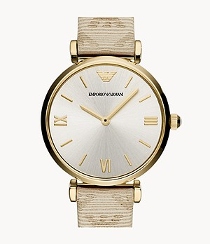 Emporio Armani Women's Two-Hand Cream Leather Watch