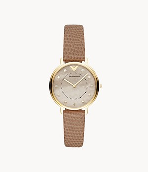 Emporio Armani Women's Two-Hand Bone Leather Watch