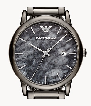 Emporio Armani Men's Three-Hand Date Gunmetal Steel Watch