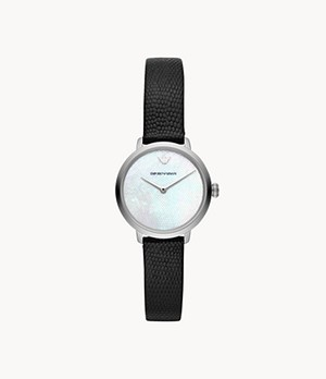 Emporio Armani Women's Two-Hand Black Leather Watch