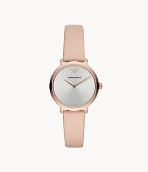 Emporio Armani Women's Two-Hand Nude Leather Watch
