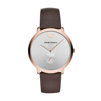 Emporio Armani Men's Three-Hand Brown Leather Watch - AR11163 - Watch Station