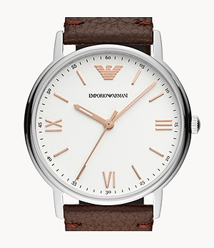Emporio Armani Men's Three-Hand Brown Leather Watch