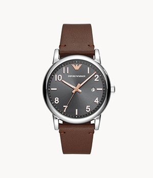 Emporio Armani Men's Three-Hand Date Brown Leather Watch