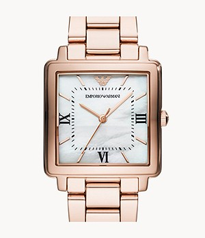 Emporio Armani Women's Three-Hand Rose Gold-Tone Stainless Steel Watch