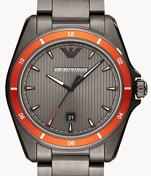 Emporio Armani Men's Three-Hand Date Gunmetal Stainless Steel Watch