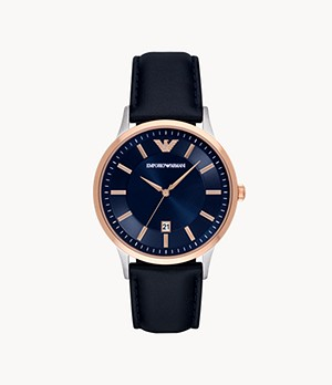 Emporio Armani Three-Hand Date Blue Leather Watch