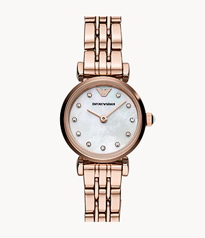 Emporio Armani Women's Two-Hand Rose Gold-Tone Stainless Steel Watch