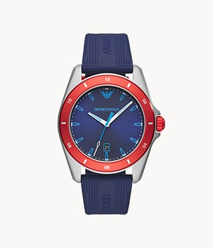 Emporio Armani Men's Three-Hand Date Blue Silicone Watch