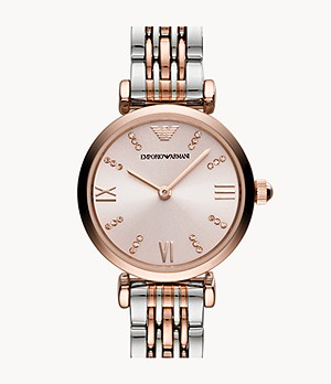 Emporio Armani Women's Two-Hand Two-Tone Stainless Steel Watch