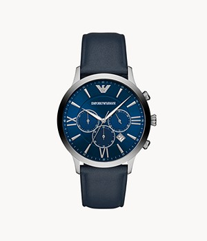 Emporio Armani Men's Chronograph Blue Leather Watch