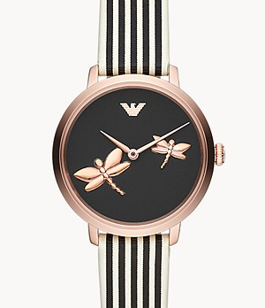 Emporio Armani Women's Two-Hand Striped Leather Watch