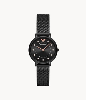 Emporio Armani Women's Two-Hand Black Stainless Steel Watch