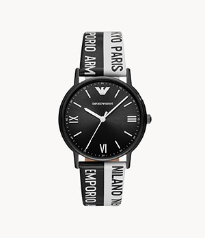 Emporio Armani Men's Three-Hand Two-Tone Leather Watch