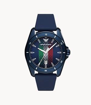 Emporio Armani Three-Hand Date Blue Silicone Watch