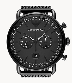 Emporio Armani Chronograph Black Stainless Steel Watch