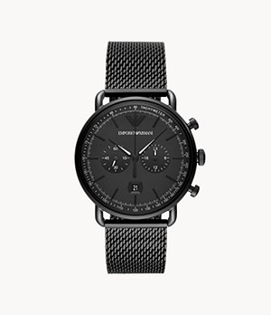 Emporio Armani Chronograph Black Steel Watch
