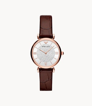 Emporio Armani Two-Hand Burgundy Leather Watch