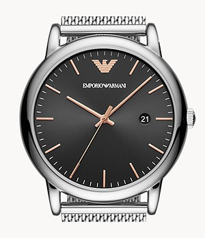 Emporio Armani Three-Hand Date Stainless Steel Watch