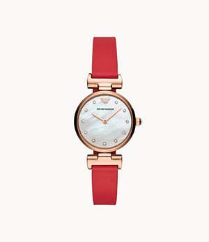 Emporio Armani Two-Hand Reversible Red and Multicolor Leather Watch