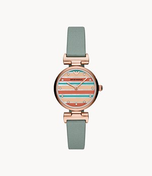 Emporio Armani Two-Hand Reversible Blue and Multicolor Leather Watch