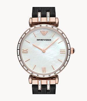 Emporio Armani Two-Hand Black Leather Watch
