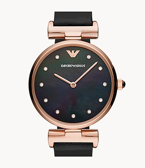 Emporio Armani Two-Hand Reversible Black and Brown Leather Watch