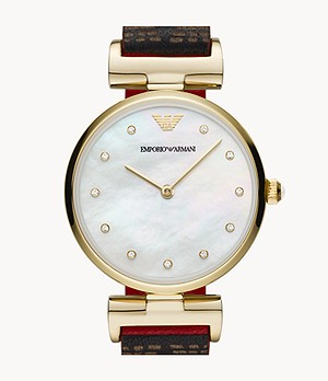 Emporio Armani Two-Hand Reversible Black and Red Leather Watch