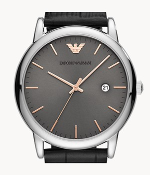 Emporio Armani Three-Hand Date Black Leather Watch