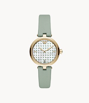 Emporio Armani Two-Hand Green Leather Watch