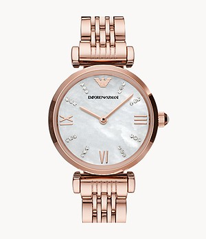 Emporio Armani Two-Hand Rose Gold-Tone Stainless Steel Watch