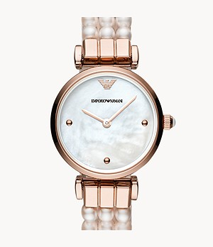 Emporio Armani Two-Hand Freshwater Pearl Watch