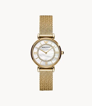 Emporio Armani Two-Hand Gold-Tone Stainless Steel Watch
