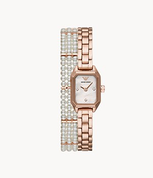 Emporio Armani Two-Hand Pearl and Rose Gold-Tone Double-Wrap Stainless Steel Watch