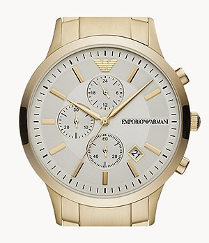 Emporio Armani Chronograph Pale Gold-Tone Steel Watch