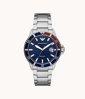 Emporio Armani Three-Hand Stainless Steel Watch