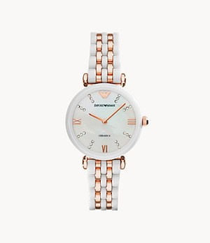 Emporio Armani Women's Two-Hand White Ceramic and Rose Gold-Tone Stainless Steel Watch