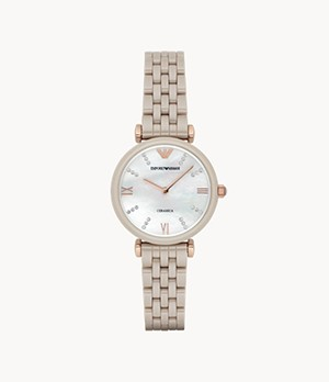Emporio Armani Women's Two-Hand Rose Gold-Tone Ceramic Watch